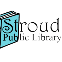 Stroud Public Library with blue book