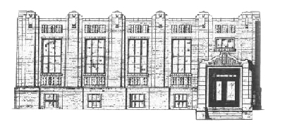 Line drawing of Library Building